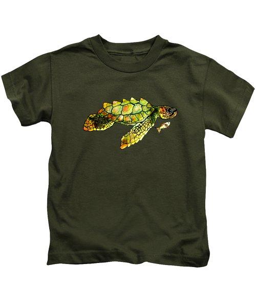 Turtle Talk Kids T-Shirt by Candace Ho