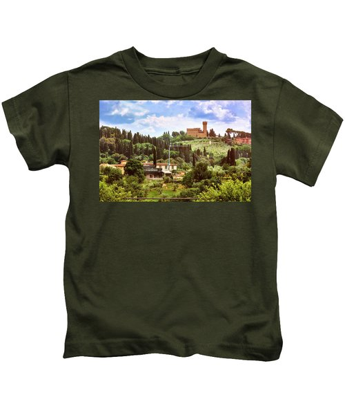 Tuscan Fields And Old Castle In Florence Kids T-Shirt