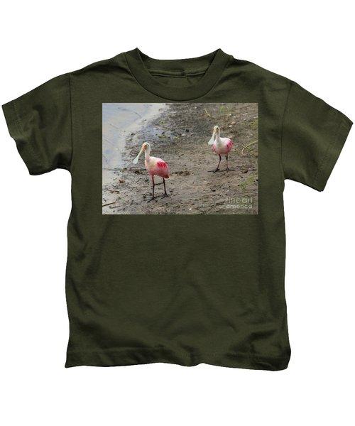 Two Roseate Spoonbills 2 Kids T-Shirt by Carol Groenen