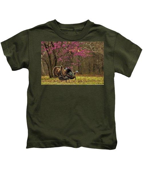 Two Tom Turkey And Redbud Tree Kids T-Shirt