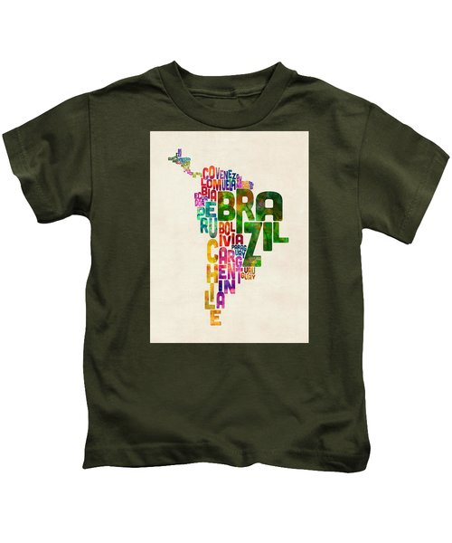 Typography Map Of Central And South America Kids T-Shirt