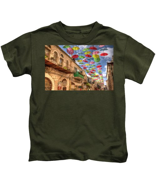 Umbrellas Over Jerusalem Kids T-Shirt