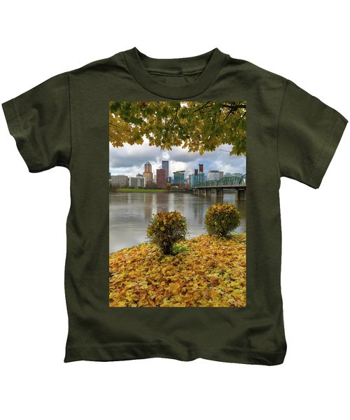 Under The Maple Tree In Portland Oregon During Fall Kids T-Shirt