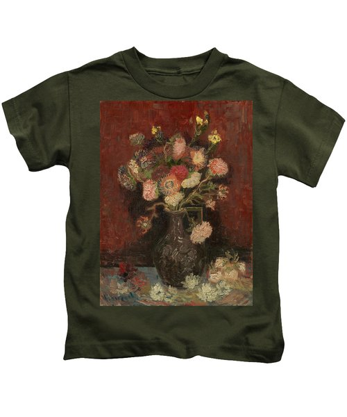 Vase With Chinese Asters And Gladioli Kids T-Shirt