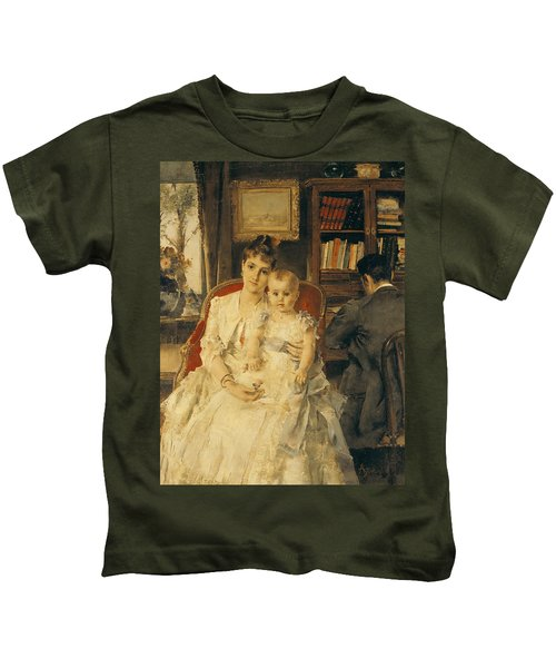 Victorian Family Scene Kids T-Shirt