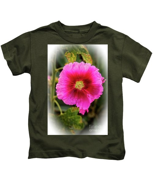Vigenetted Hollyhock Kids T-Shirt