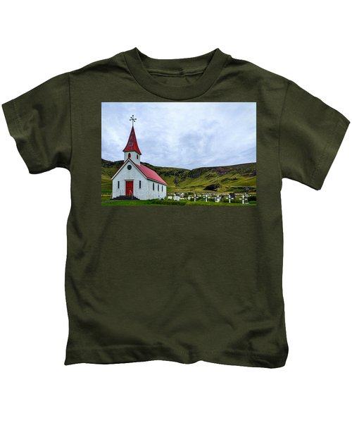 Vik Church And Cemetery - Iceland Kids T-Shirt
