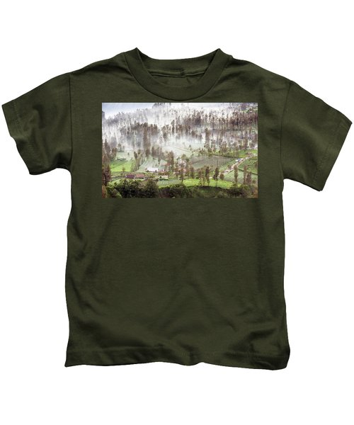 Village Covered With Mist Kids T-Shirt