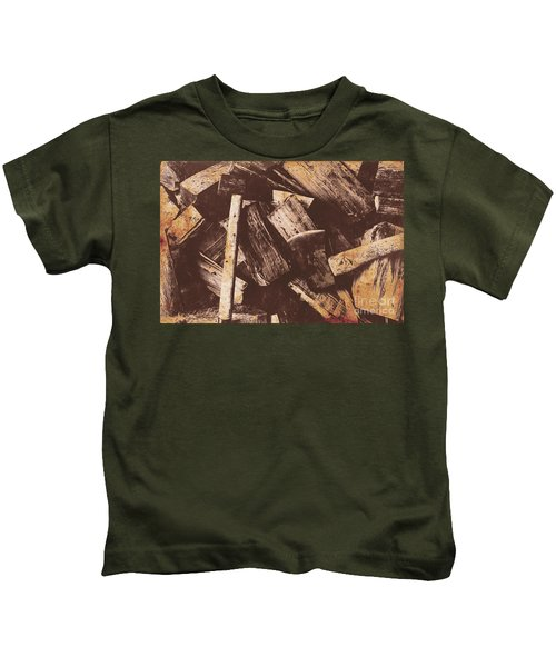 Vintage Axes With On Cut Wood Kids T-Shirt