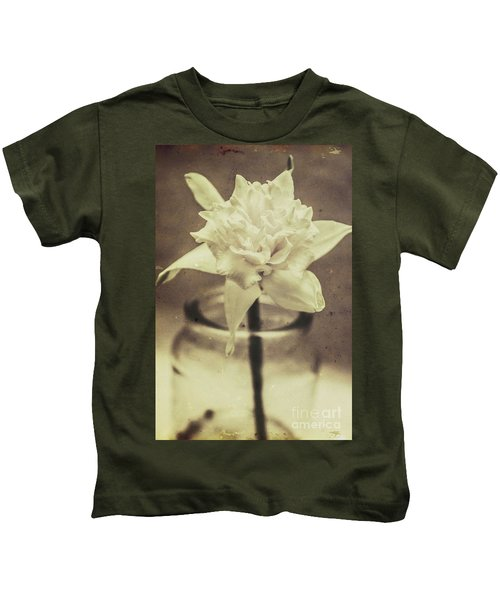 Vintage Floral Still Life Of A Pure White Bloom Kids T-Shirt