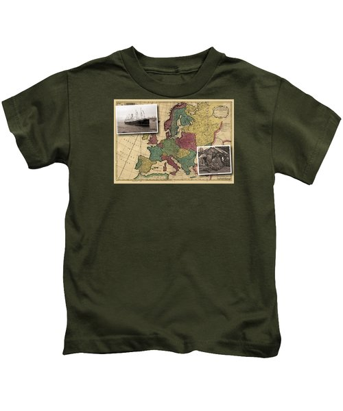 Vintage Map Europe Immigrants Kids T-Shirt