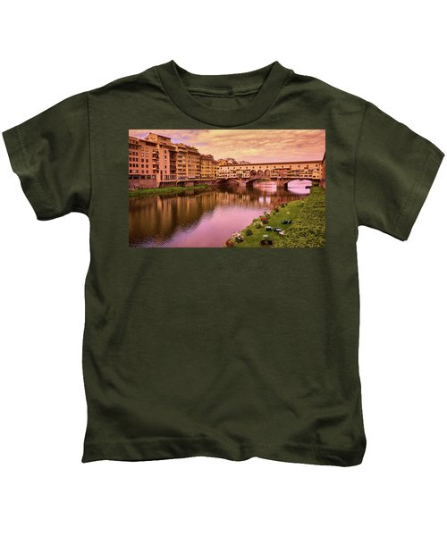 Sunset At Ponte Vecchio In Florence, Italy Kids T-Shirt