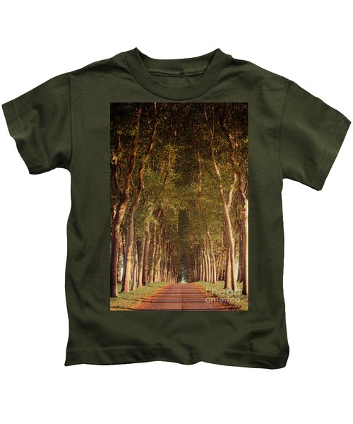Warm French Tree Lined Country Lane Kids T-Shirt