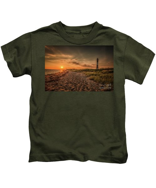 Warm Sunrise At The Fire Island Lighthouse Kids T-Shirt