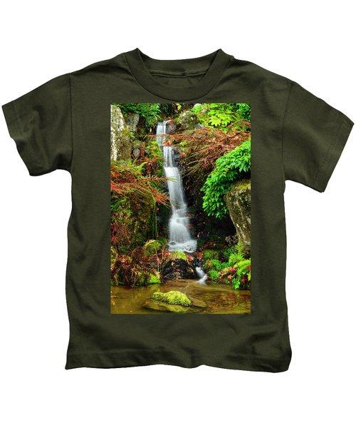 Waterfall At Kubota Garden Kids T-Shirt