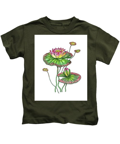Water Lily Botanical Watercolor  Kids T-Shirt