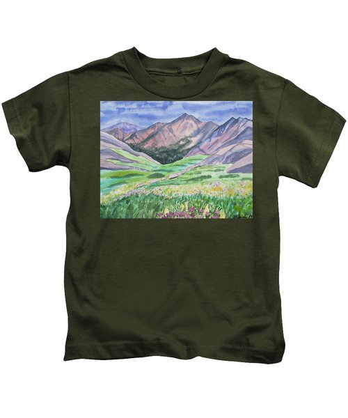 Watercolor - Colorful Mountain Landscape With Yale Peak Kids T-Shirt