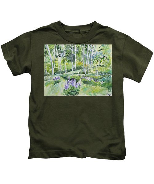 Watercolor - Early Summer Aspen And Lupine Kids T-Shirt