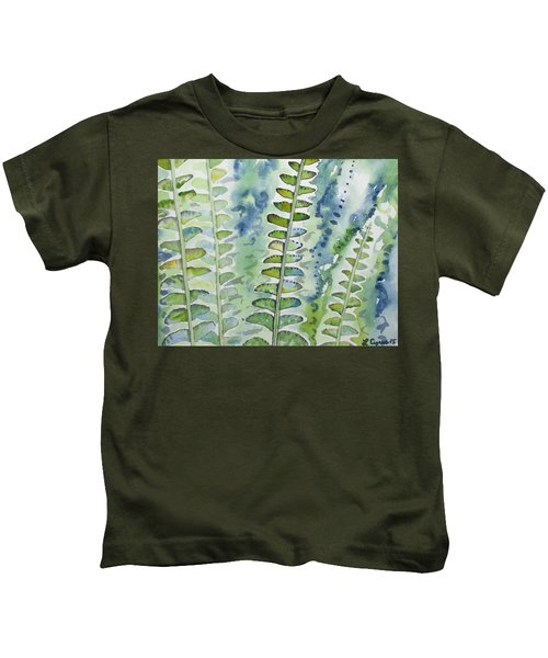 Watercolor - Rainforest Fern Impressions Kids T-Shirt