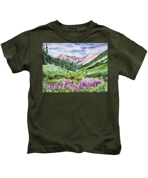 Watercolor - San Juans Mountain Landscape Kids T-Shirt