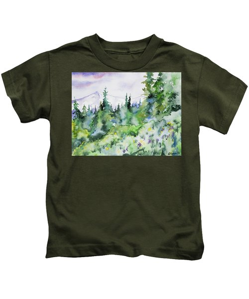 Watercolor - Summer In The Rockies Kids T-Shirt