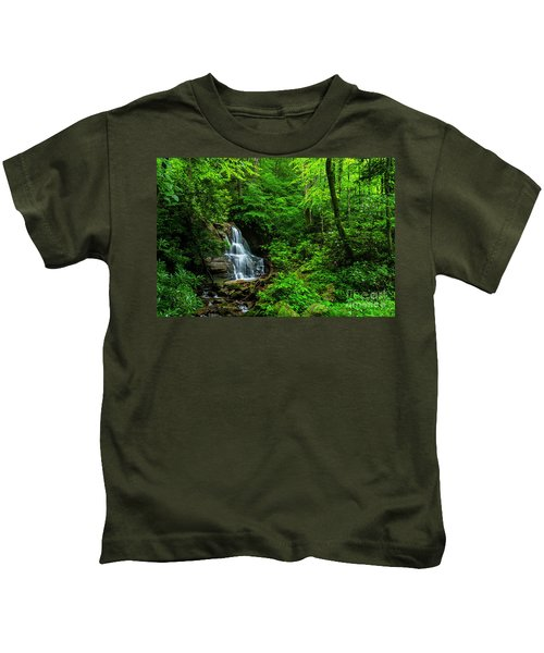 Waterfall And Rhododendron In Bloom Kids T-Shirt