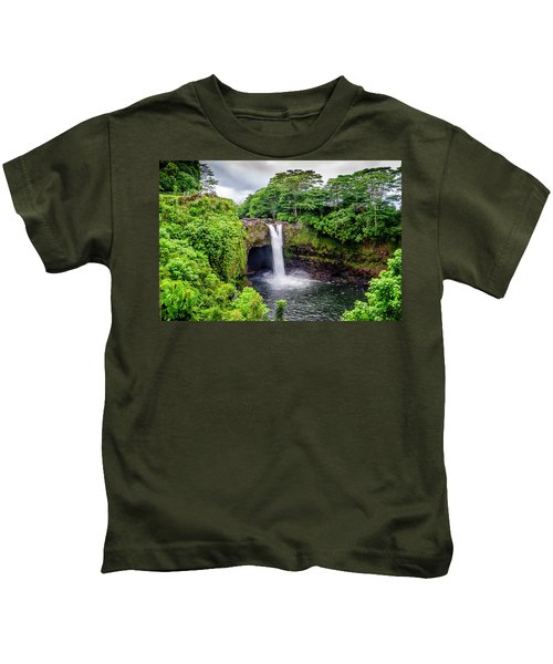 Waterfall Into The Valley Kids T-Shirt