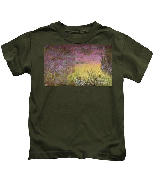 Waterlilies At Sunset Kids T-Shirt