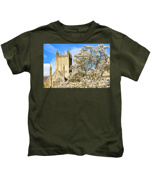 Wells Cathedral And Spring Blossom Kids T-Shirt