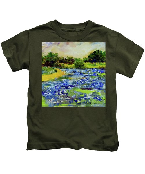 Where The Beautiful Bluebonnets Grow Kids T-Shirt
