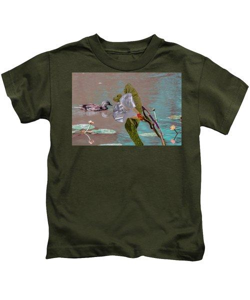 White Bindweed And Mandarin Duck Mix #g5 Kids T-Shirt