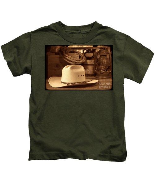 White Cowboy Hat On Workbench Kids T-Shirt