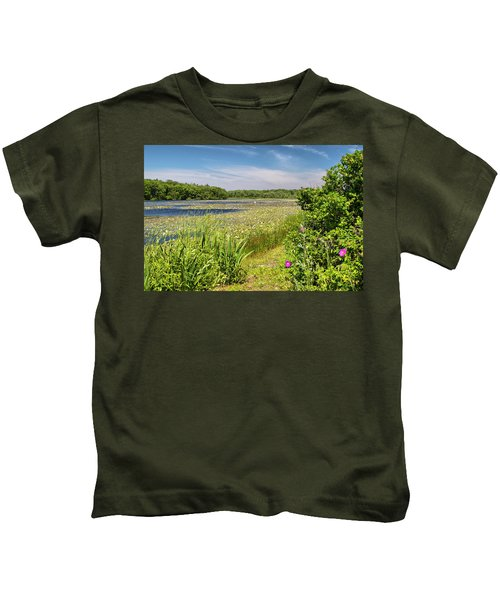 White Lily Pond  Kids T-Shirt