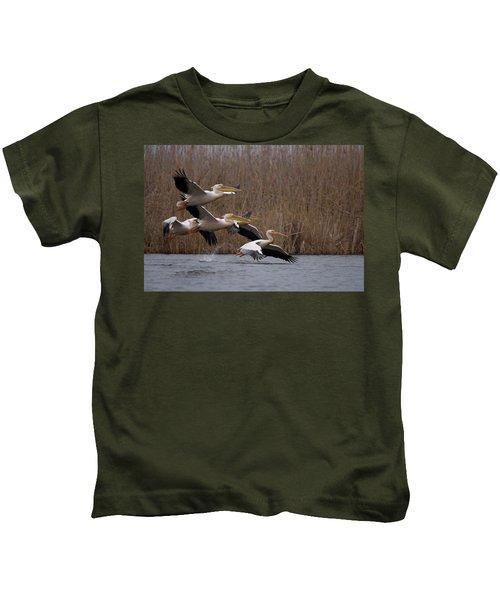White Pelicans In Flight Over Lake Kids T-Shirt