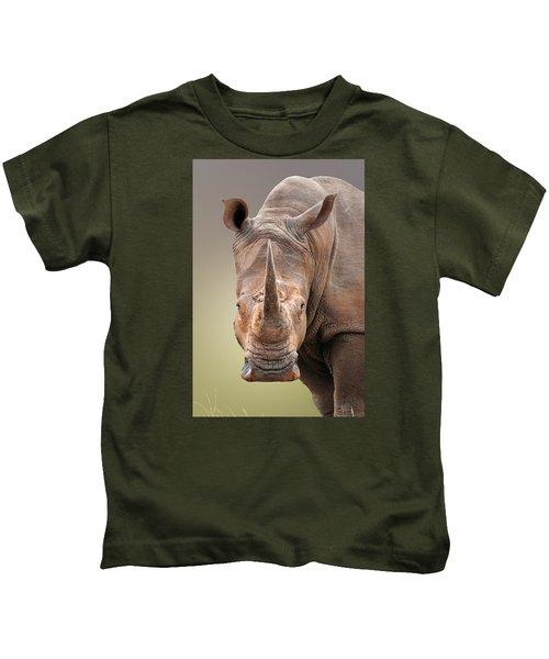 White Rhinoceros Portrait Kids T-Shirt