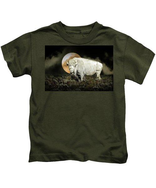 White Spirit Buffalo And Moon Kids T-Shirt