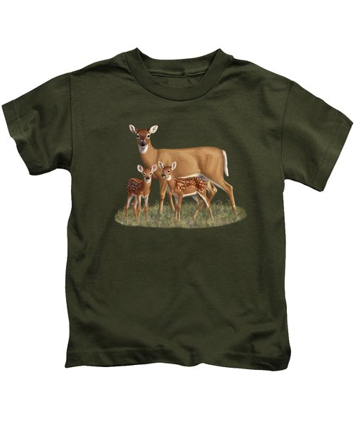 Whitetail Doe And Fawns - Mom's Little Spring Blossoms Kids T-Shirt by Crista Forest