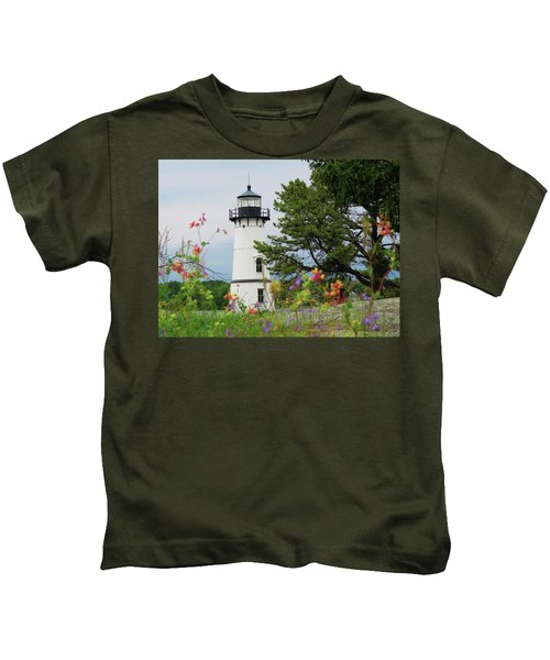 Wild Flowers On Rock Island Kids T-Shirt