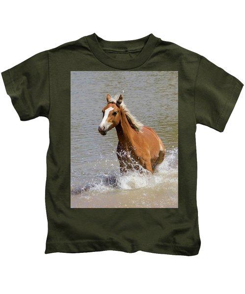 Wild Horse Splashing At The Water Hole Kids T-Shirt