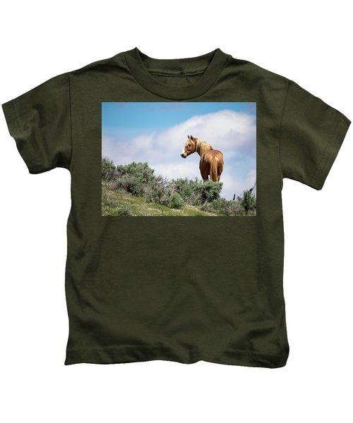 Wild Mustang Stallion Of Sand Wash Basin Kids T-Shirt