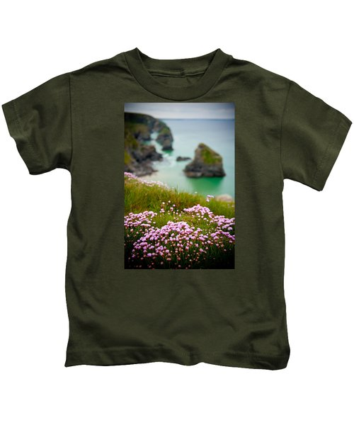 Wild Sea Pinks In Cornwall Kids T-Shirt