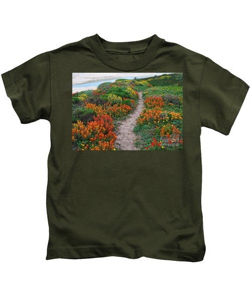 Wildflower Path At Ribera Beach Kids T-Shirt