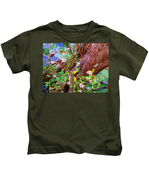 Wildflowers On A Cypress Knee Kids T-Shirt