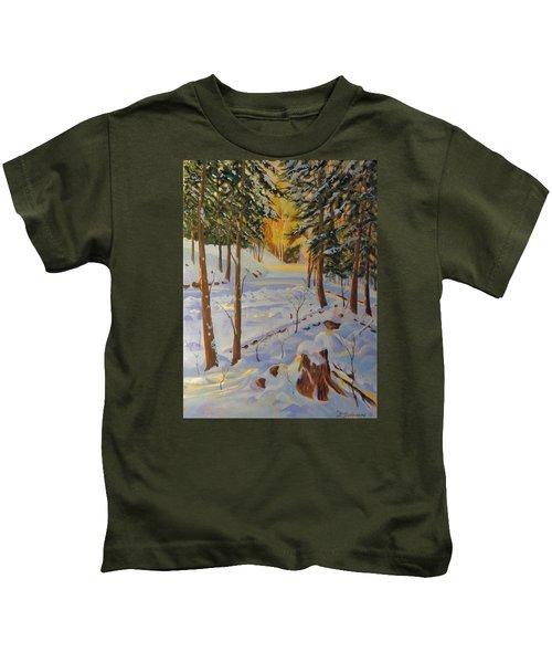 Winter On The Lane Kids T-Shirt