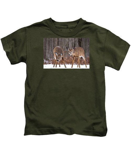 Winter White Tail Deer Kids T-Shirt