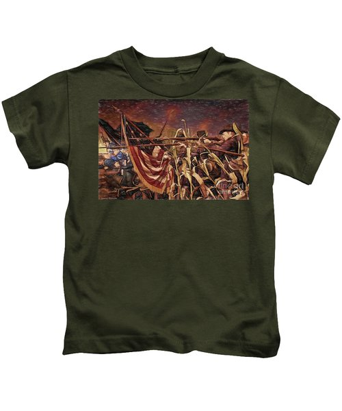 Wisconsin Black Hats At Antietam - Colored Pencil Kids T-Shirt