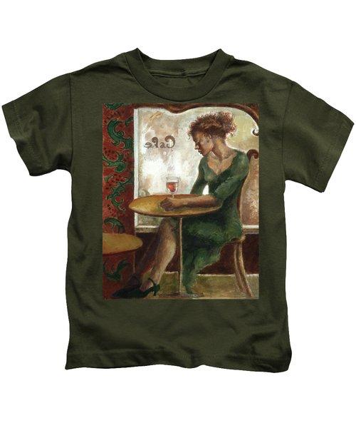 Woman In A Paris Cafe Kids T-Shirt