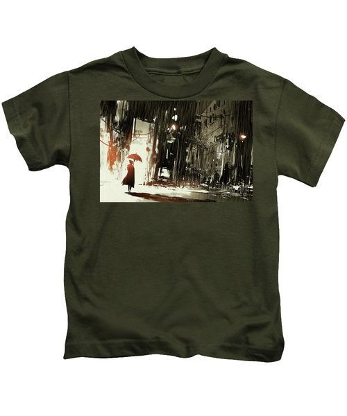 Woman In The Destroyed City Kids T-Shirt