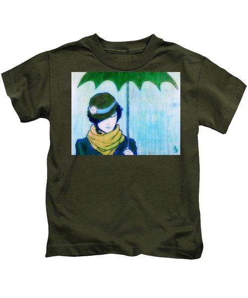 Woman With Green Umbrella Kids T-Shirt