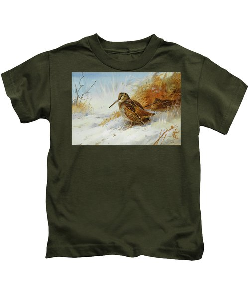 Woodcock In Winter By Thorburn Kids T-Shirt